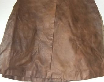 tan leather wrap-over skirt sz 10  1990s never wore