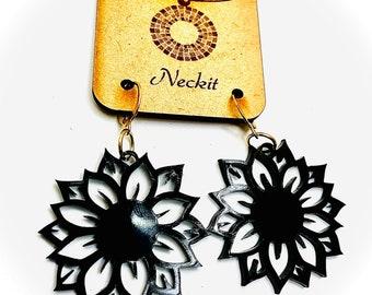 Black Acrylic Sunflower Earrings