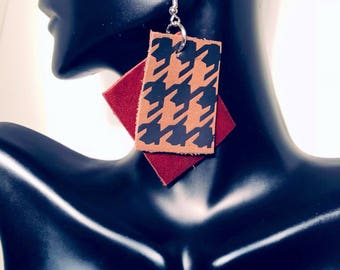 Brown and Burgundy Leather Houndstooth Earrings