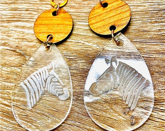 Zebra Acrylic and Wood Teardrop Dangle Earrings