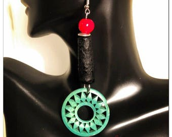 Afrocentric Red Black and Green Earrings