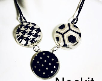 Resin Polka Dot and Houndstooth Fabric Statement Choker Necklace