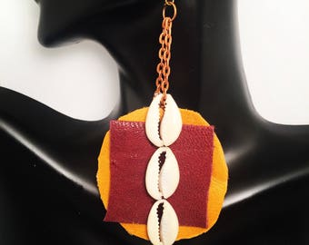 Leather and Cowry Shells Chain Earrings
