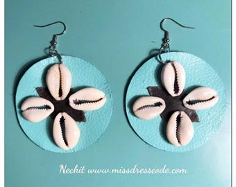 Afrocentric Leather Circle and Cowry Shell Statement Earrings