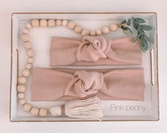 Knot headband, headband, blush, textured fabric