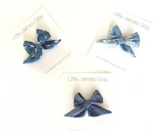 Sailor bow, mini bow, chambry, nylon headband, hair clip