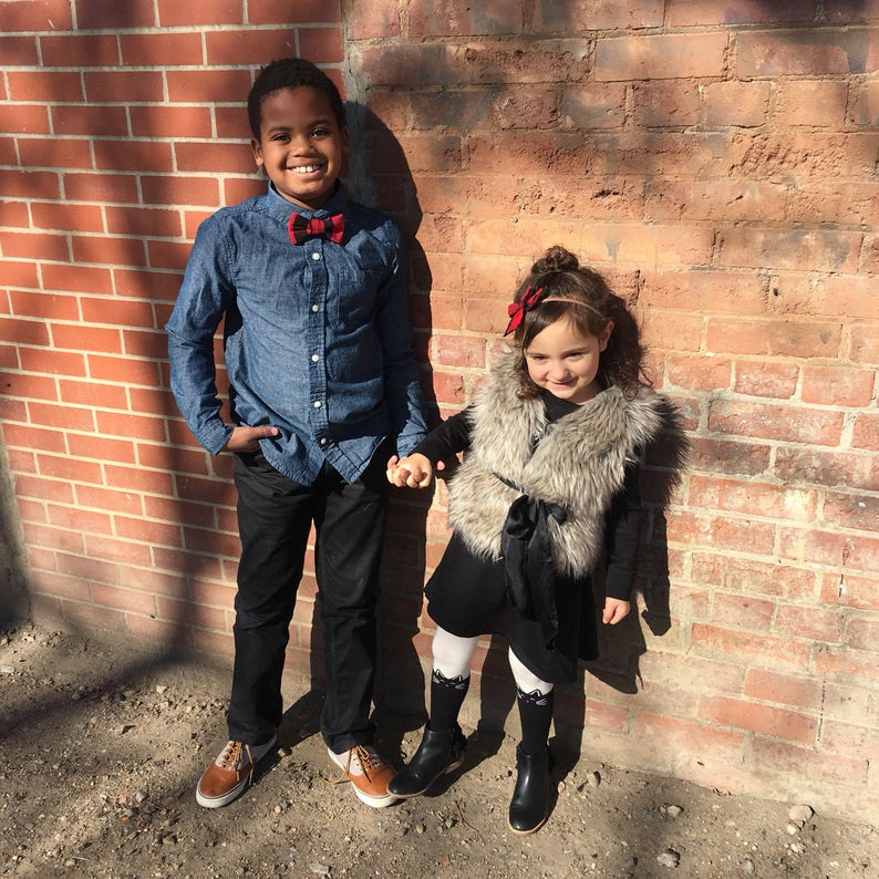 Buffalo plaid brother and sister set Headband and bow tie set