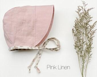 Bonnet, sun bonnet, pink linen