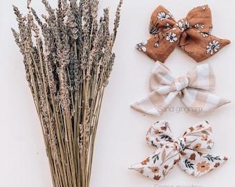Sailor bows, bows, nylon band, hair clip, floral, neutrals,