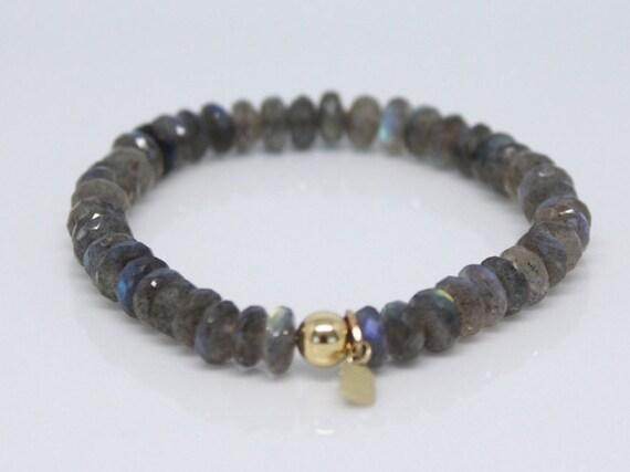 ... 14k Solid Gold Bead on Labradorite Bracelet 7d7b0c3f95