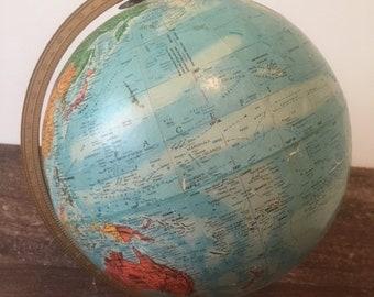 Vintage Replogle World Globe, Mid-Century, Sphere, Geography, Planet Earth, School, on Base, Maps, Planetary, Educational, Standard Size