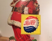 Vintage 1940 39 s-50 39 s Pepsi-Cola Litho Stand-up Display Featuring SANTA CLAUS holding a Bottle of Pepsi Santa Collector