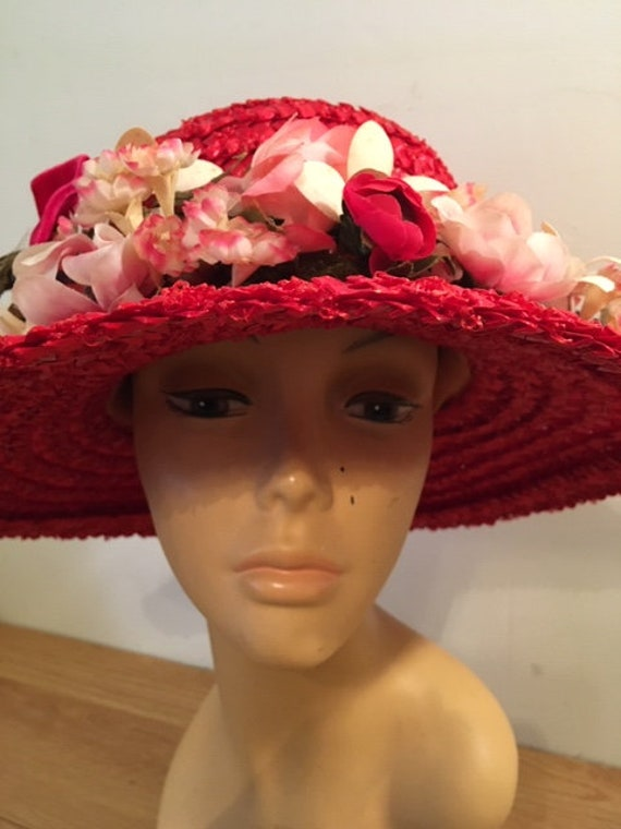 Vintage Sears Red Hat/Millinery/Garden Party/Red S