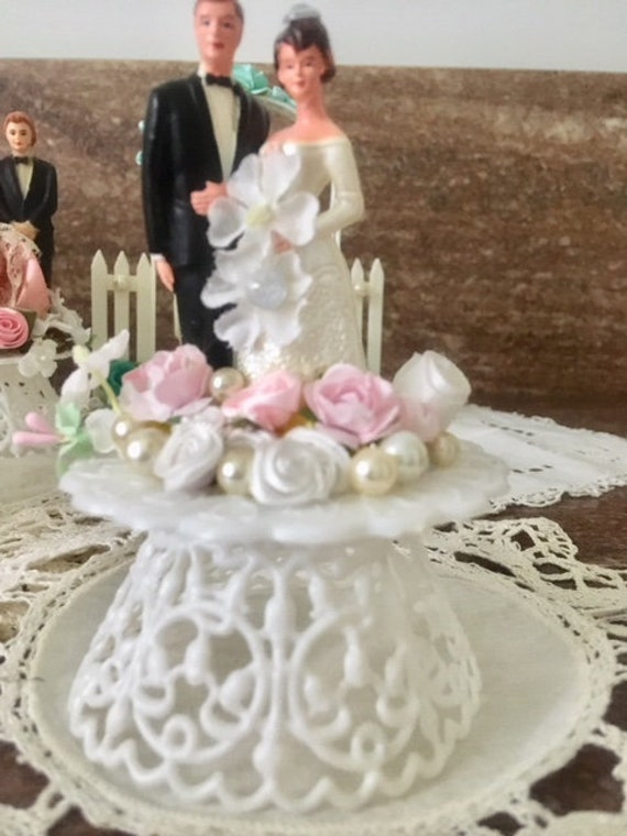Wedding Cake Decoration Vintage Mid Century Silver Paint Plastic Shoe Bridal