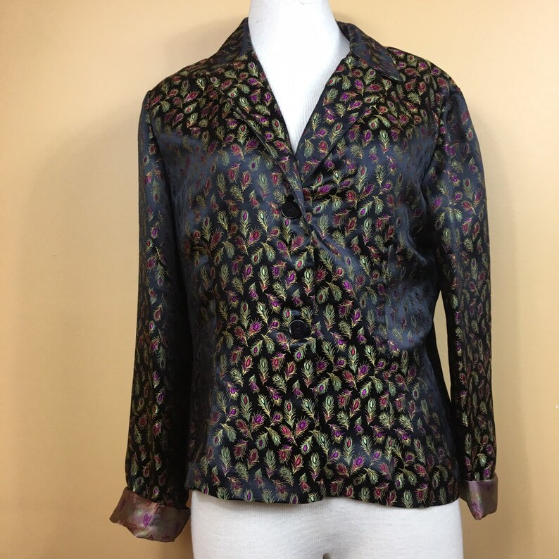 Embroidered Peacock Blazer Jacket Made in the USA Vintage S.L.B