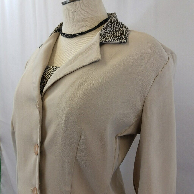 Vintage 90\u2019s Be Smart Tan /& Animal Print 3 Piece Skirt Suit Set