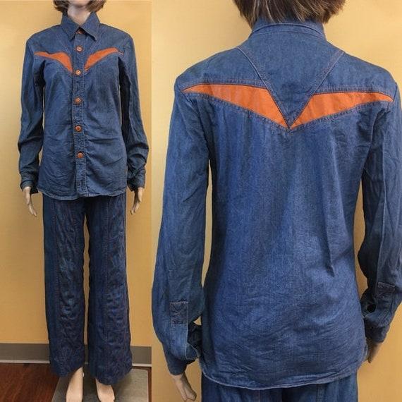Vintage 70's Faded Glory Denim and Orange Faux Lea