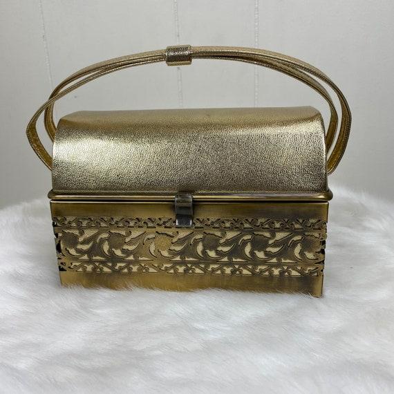 Vintage 1960s Ande Gold Tone Box Basket Treasure C