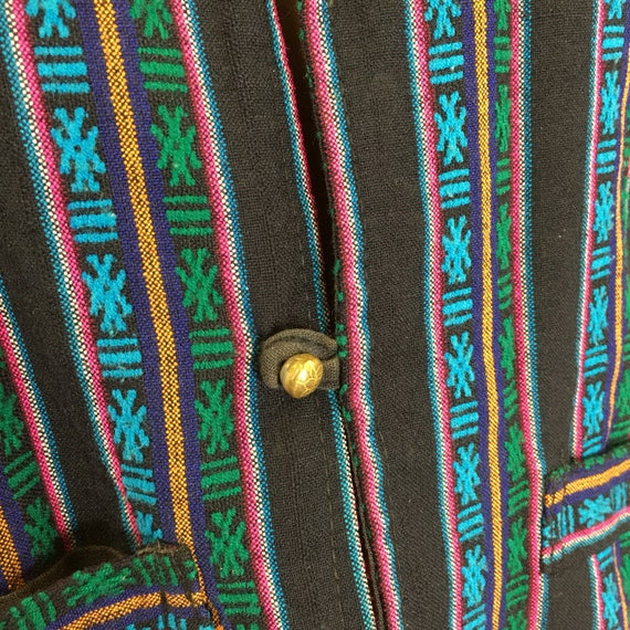 Vintage Woven Boho Hippie Vest w/ brass buttons - image 4