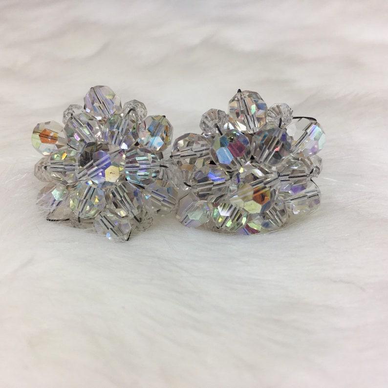 Vintage Glass Crystal Aurora Borealis Clip-on Earrings
