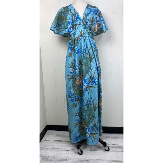 Vintage 70s Blue Floral Flutter Sleeve Dress