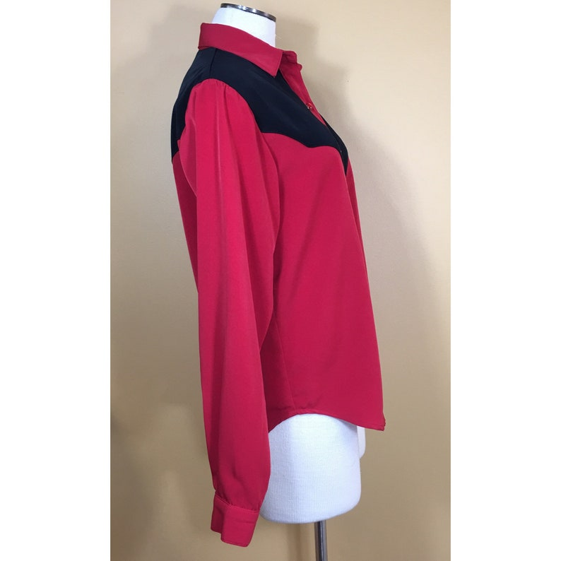 Vintage 70\u2019s Red /& Black Color Block Western Rockabilly Button Down Blouse Shirt Small