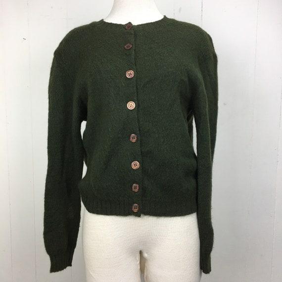 Vintage 50's Pandora Shagora Dark Green Cardigan S