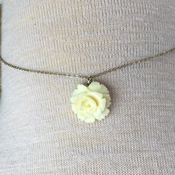 Vintage Carved Bone Rose Winard 1 20 12k Gf Necklace Etsy
