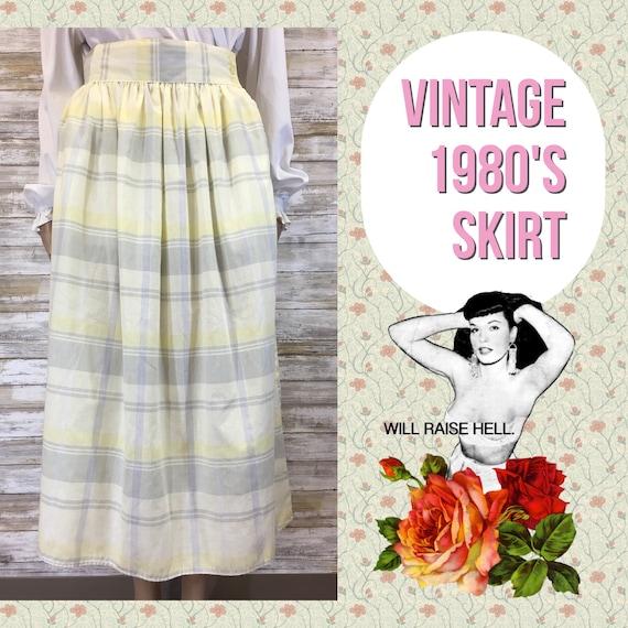 Vintage You Babes 1980's Yellow/Gray Plaid Skirt