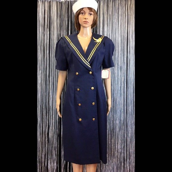 Vintage NWT 80s Leslie Fay Navy & Gold Nautical Sa