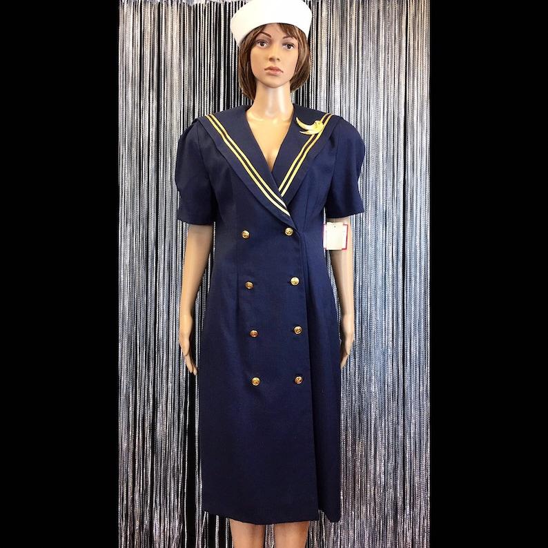 3e76c733ca657 Vintage NWT 80s Leslie Fay Navy & Gold Nautical Sailor Dress, Free Shipping