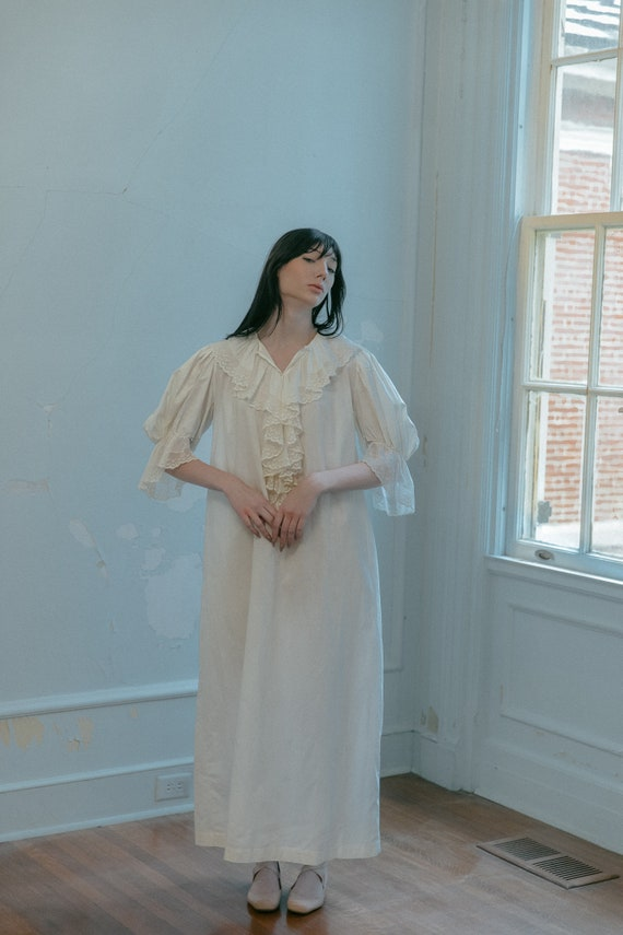 Rare 1890s cotton ruffled gown nightgown OOAK Anti