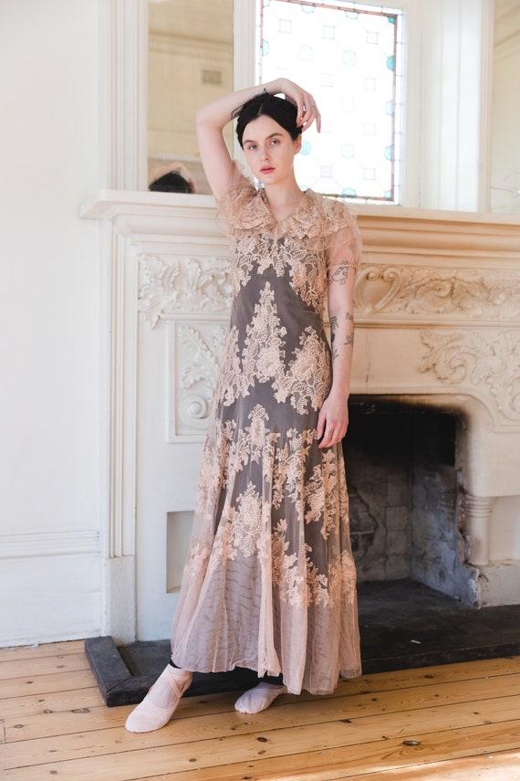 RARE 1930s net lace FOGA label gown antique weddin