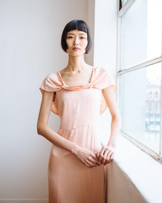 RARE 1930s bias cut baby pink silk ruffled gown O… - image 7