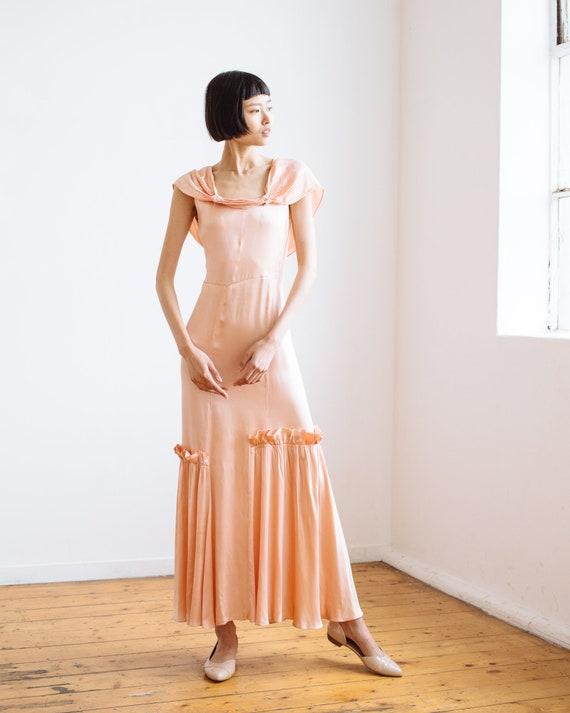 RARE 1930s bias cut baby pink silk ruffled gown O… - image 6