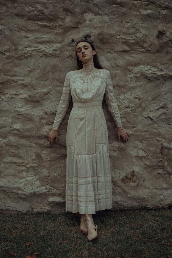 Rare c. 1900s Edwardian lace net lawn dress OOAK