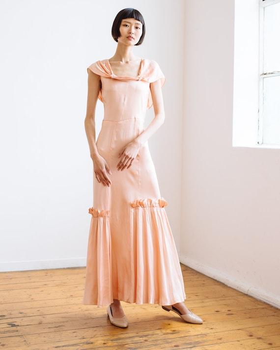 RARE 1930s bias cut baby pink silk ruffled gown O… - image 1