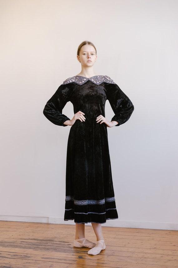 Antique 1930s velvet and crochet dress OOAK handma