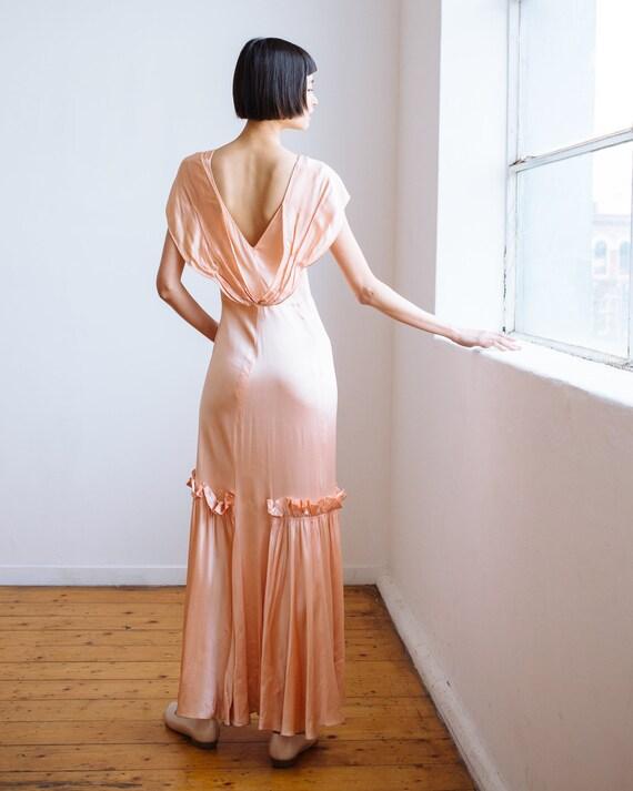 RARE 1930s bias cut baby pink silk ruffled gown O… - image 9