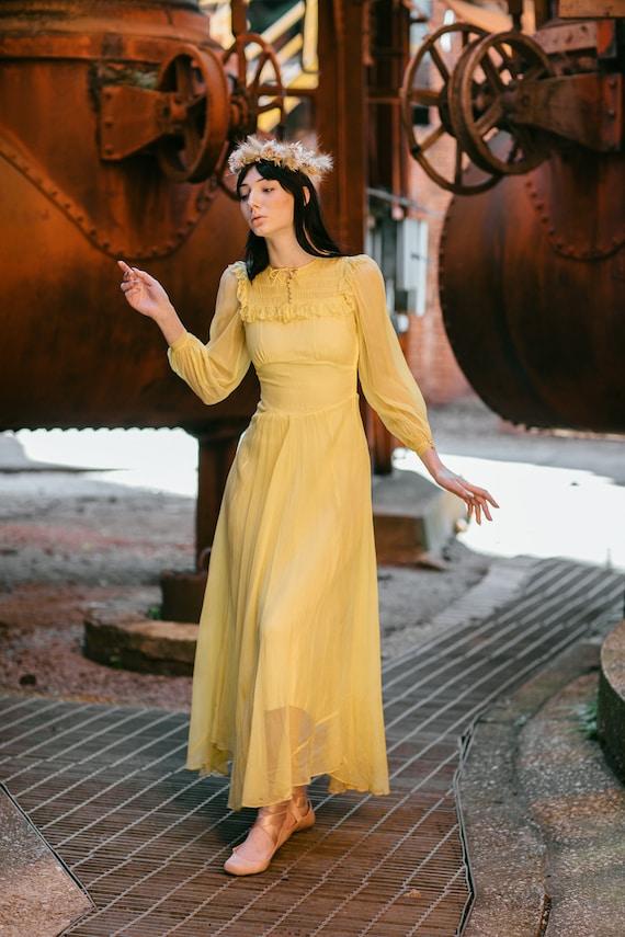 1940s yellow silk chiffon smocked dress OOAK antiq