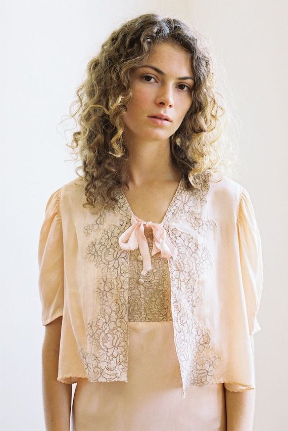 Antique 1930s silk and lace bed jacket blouse OOAK