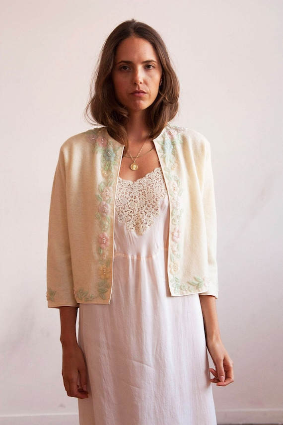 1950s angora and wool floral beaded cardigan