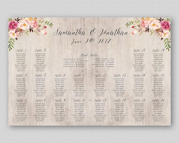 boho seating chart board boho wedding guest list floral etsy