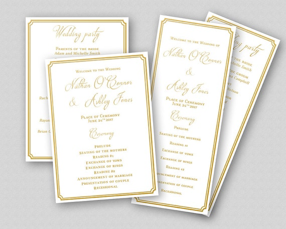 personalized printable wedding program template gold wedding etsy