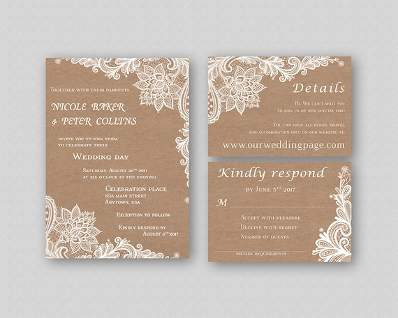 Wedding Invitation Suite Templates: Items Similar To Rustic Wedding Invitation Suite Printable