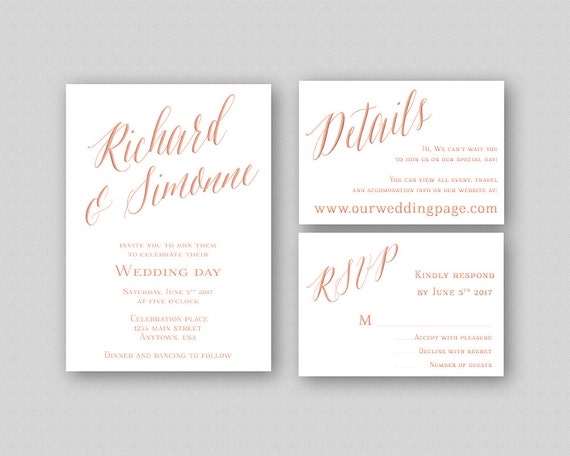 Rose Gold Wedding Invitation Template Printable Wedding Invitation Set Calligraphy Wedding Invitation Rose Gold Caligraphy Invitation