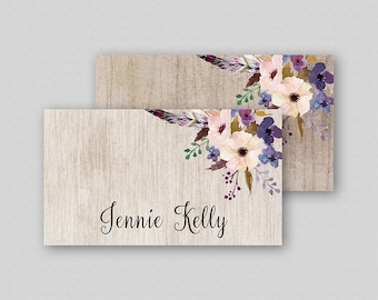 Floral Wedding Place Card Template, Boho Wedding Name Cards, Escort Cards, Floral Table Tents  TWO BACKGROUNDS - Rustic Floral Boho Flowers