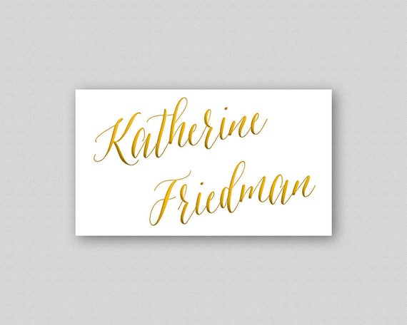 caligraphy wedding place card template gold wedding name etsy