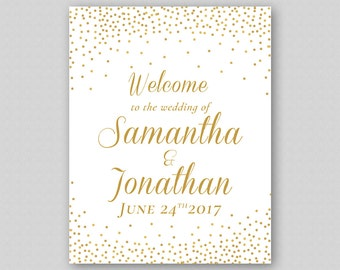 Printable Wedding Welcome Sign, Gold Wedding Welcome Sign Template, Gold Glitter Wedding Reception Sign, Gold Glitter Sparkles Confetti Dots