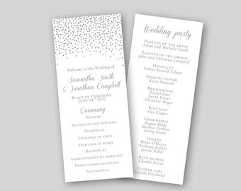 Printable Wedding Program Template DIY, Order of Ceremony, Wedding Ceremony Program - Silver Glitter Sparkles Confetti Dots INSTANT DOWNLOAD
